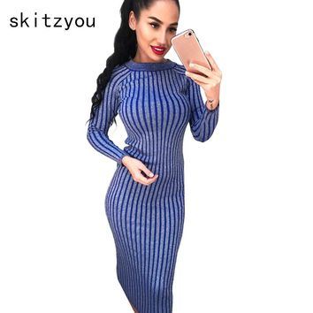 skitzyou Autumn Winter Women Knitted Long Sleeve Sweater Dress Elastic Slim Sexy Bodycon Black O Neck Party Fit Dresses vestidos