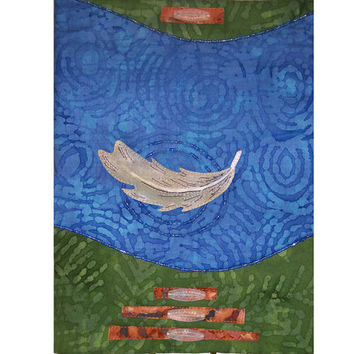 Art Quilt Floating Feather