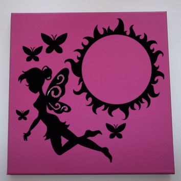 "Sun Fairy | decorated canvas | wall hanging | wall decor | girly quotes | 12"" x 12"""