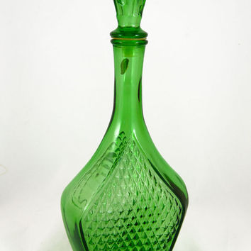 Vintage 1960s Green Glass Italian Faceted Decanter - Retro, Mid Century Decor