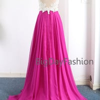 Fuchsia Prom Dress, Long Chiffon Formal Dress, Wedding Party Dress, Straps Lace Chiffon Floor Length Gown See Through Back