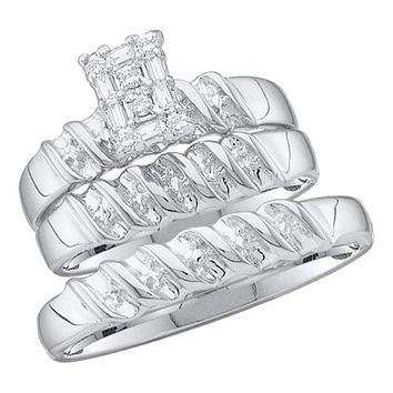 10kt White Gold His & Hers Round Diamond Cluster Matching Bridal Wedding Ring Band Set 1/10 Cttw - FREE Shipping (US/CAN)