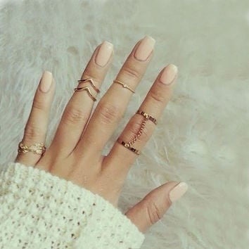 Diamond Chain Leaf Mittens Ring