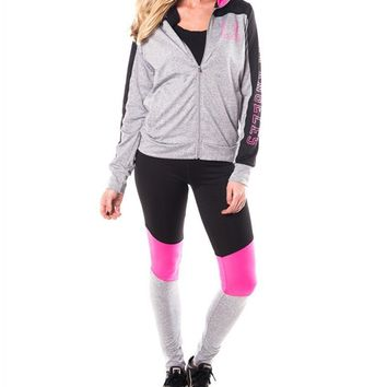 2 Pcs Zip-Up Jacket & Leggings - Charcoal/Pink