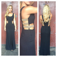 Black Side Embroidered Maxi Dress