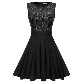 Women Sleeveless 1950s Vintage Style Rockabilly Sequin Casual Fit Pleated Dress