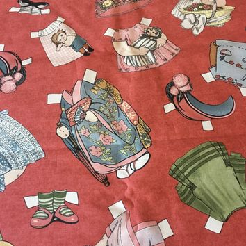 New Paper Dolls fabric by Sibling Arts for Newcastle fabrics - pattern #571 - Outfits on Red