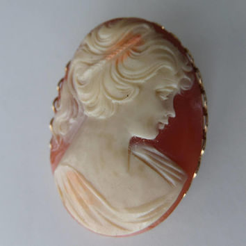 Large Cameo Pin, 1970's Antique Reproduction, Costume Jewelry