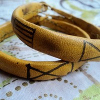Traditional West African Leather Bracelet (mustard) by Doorstoafrica