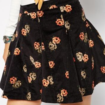 Free People Skater Skirt in Floral Corduroy