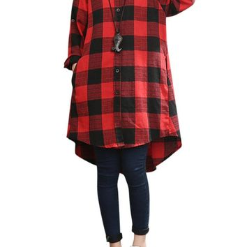 Loose Plus Size Plaid Lapel Long Sleeve High Low Shirt For Women