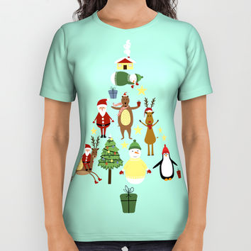 Christmas tree with reindeer, Santa Claus and bear All Over Print Shirt by Graf Illustration