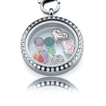 Personalized Floating Locket ringed with stones