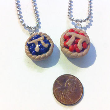 Pi Pie Necklace, Geekery, Pi Day, Math Charms, Pie Charms, Polymer Clay Charms, Gag Gifts, Stocking Stuffers, Math Gifts, Kawaii jewelry