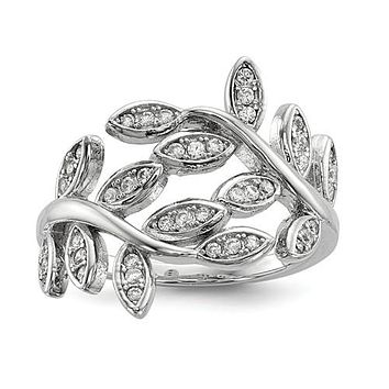 925 Sterling Silver CZ  Leaves Ring