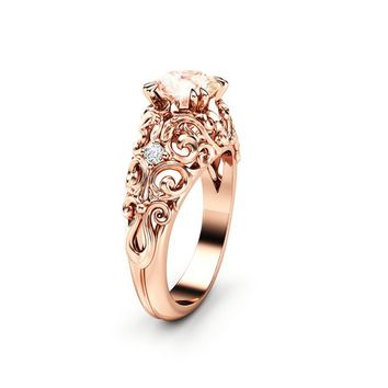 Peach Pink Sapphire Engagement Ring 14K Rose Gold Ring Unique Art Nouveau Engagement Ring