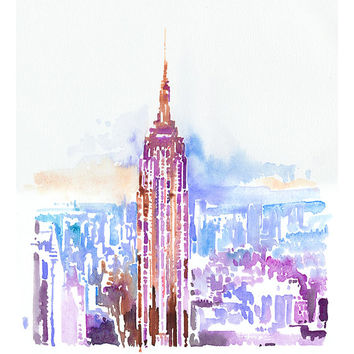 "Archival Print from Original Painting, Empire State Building Print, New York, New York Illustration Print series 11"" x 17"""
