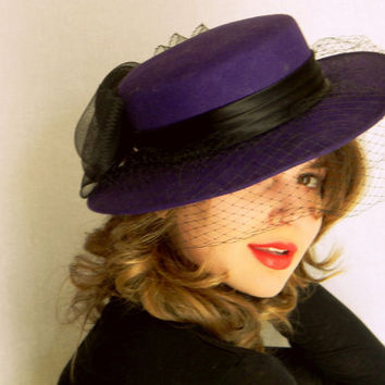 Summer SALE Vintage Derby Hat Purple Race Hat with Veil. Wedding. Mad Men Fashion. Hat Band with bow. Summer Fashion.
