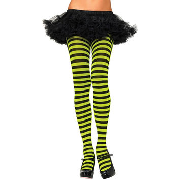 Tights Striped Blk Neon Green