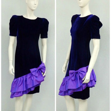 Vintage 80s Dark Purple Velvet Dress, Ruffle Dress, Party Dress, Cocktail Dress, Bow Dress, Puff Sleeve Dress, Knee Length Dress