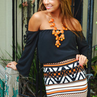 PRE-ORDER: Make Me Part Of The Tribe Skirt: Orange | Hope's