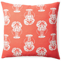 Lobsters 20x20 Cotton Pillow, Coral, Decorative Pillows