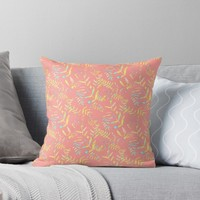 'Watercolor Leaves #redbubble' Throw Pillow by designdn