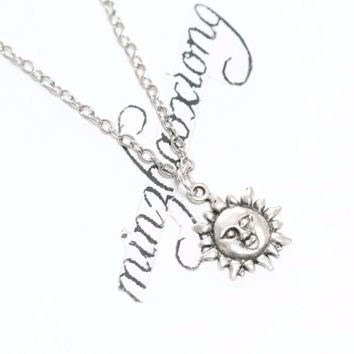 New Vintage Charms Fashion Antique Silver Alloy Sun God Pagan Wiccan Pendant Chain Necklace Jewelry Gift  (10 pcs)