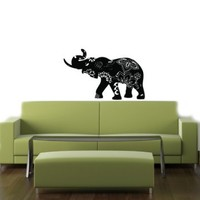 Housewares Vinyl Decal Exclusive Designed Elephant with Indian Pattern Home Wall Art Decor Removable Stylish Sticker Mural Unique Design for Any Room