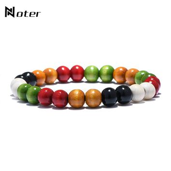 Noter Colorful Wood Beads Buddha Bracelet Minimalist Yoga Meditation Wooden Braclet For Mens Women Hand Jewelry Pulseira