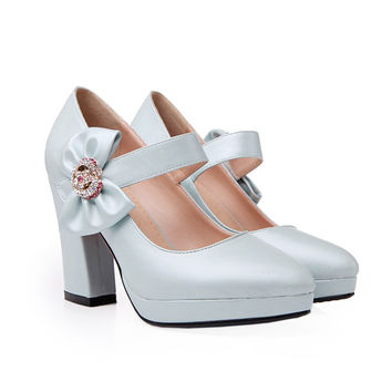 Platform High Thick Heel Bowknot Pointed Thin Shoes  blue