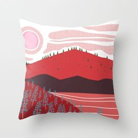 Field of Lupins Red Throw Pillow by Creative Break