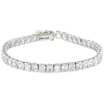 Hazel Princess Cut CZ Tennis Bracelet – 7.25in | 20ct