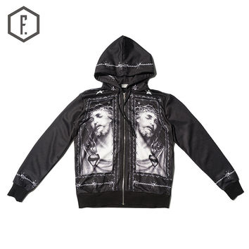 Print Hoodies Zippers Cotton Hats Jacket [8822209859]