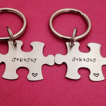 Personalized Puzzle Piece Key Chain Duo Initial set - These Hand Stamped Stainless Steel Key Chains make a great anniversary gift