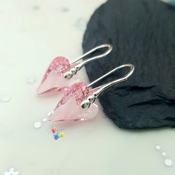 Rose Pink Crystal Wild Heart Earrings, Sterling Silver Earrings, Gift for Her, Crystal, girlfriend valentines day gift, sweetheart jewelry