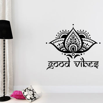 Good Vibes Wall Decal Yoga Studio Lotus Flower Decals Vinyl Sticker Ornament Moroccan Pattern Namaste Home Boho Decor Bohemian Bedroom T102