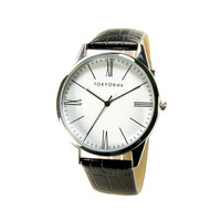 TOKYObay Oxford Roman Watch with Roman Numeral Dial and Black Leather Strap