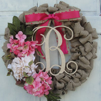 Pink Hydrangea Wreath with Letter, Monogram Wreath for Door, Initial Wreath, Pink Wreath, Front Door Letter, Front Door Monogram Initial