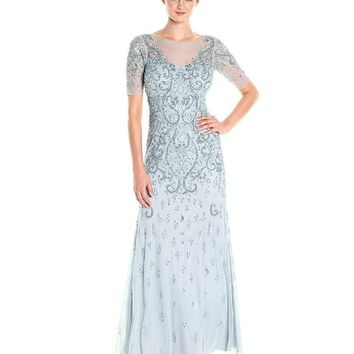 Adrianna Papell - AP1E201314 Quarter Sleeve Embellished Evening Gown