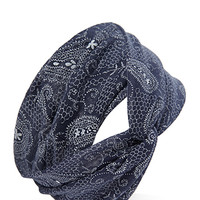 FOREVER 21 Paisley Print Knotted Headwrap Dusty Blue/Cream One