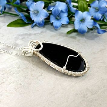 Wire Wrapped Agate Slice Pendant, Black Agate Gemstone Necklace, Jewelry Gift for Women