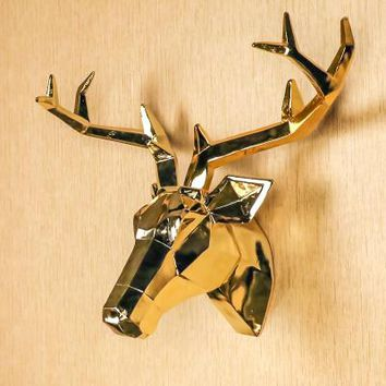 Golden Silver Deer Wall Decoration Head Resin Wall Ornament Xmas Gift Resin Animal Head Wall Decoration Wall Hanging Ornaments