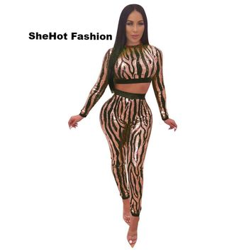 Women Sexy Mesh Sequined Print Two Piece Long Sleeve Crop top Pant Set