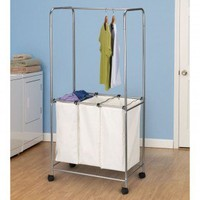 Household Essentials Laundry Centre with Triple Caster in Satin Silver - 7015 - Bed & Bath