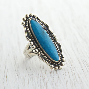 Vintage Sterling Silver Faux Turquoise Ring - Retro Signed Size 5 1/2 Southwestern Native American Style Jewelry / Blue Statement