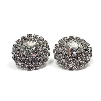 Vintage Rhinestone Shoe Clips Silver Tone Round Prong Set Mid Century Womens Accessories