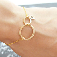 C-029 Interlocking, Initial, Personalized bracelet, Infinity bracelet, Simple bracelet, Gold plated/Everyday jewelry/