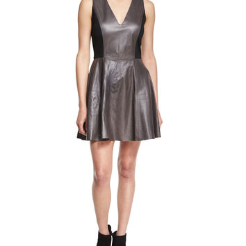 Reza Leather A-Line Dress, Black/Gray, Size: