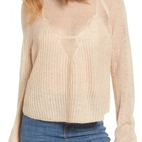 Moon River Sheer Knit Raglan Sweater | Nordstrom